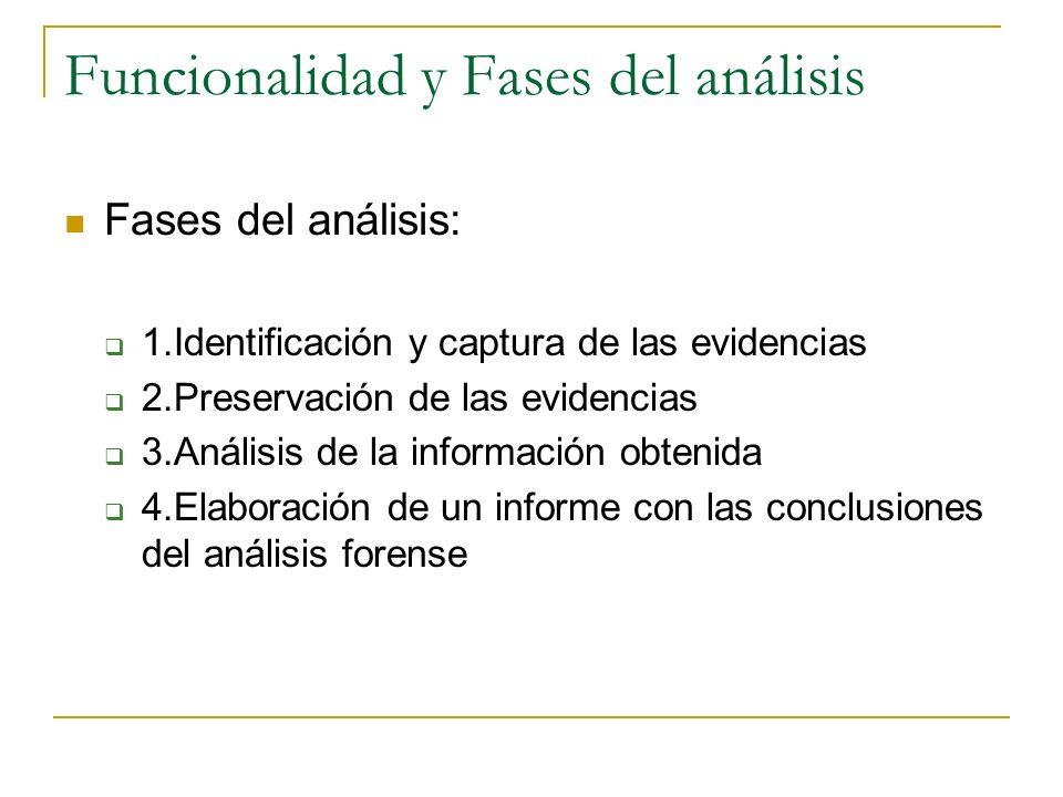 Funcionalidad y Fases del análisis Fases del análisis: 1.Identificación y captura de las evidencias 2.Preservación de las evidencias 3.Análisis de la