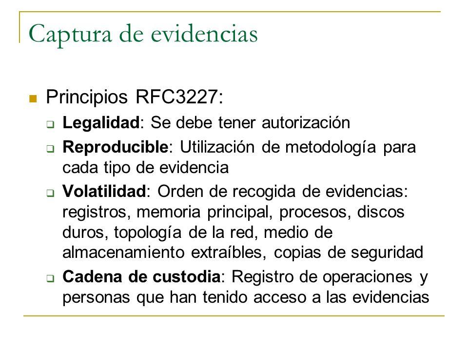 Captura de evidencias Principios RFC3227: Legalidad: Se debe tener autorización Reproducible: Utilización de metodología para cada tipo de evidencia V