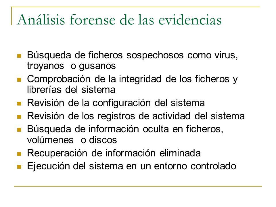 Análisis forense de las evidencias Búsqueda de ficheros sospechosos como virus, troyanos o gusanos Comprobación de la integridad de los ficheros y lib