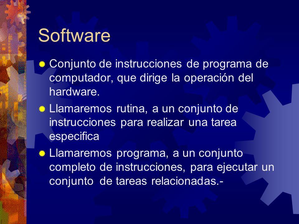 Software Conjunto de instrucciones de programa de computador, que dirige la operación del hardware. Llamaremos rutina, a un conjunto de instrucciones