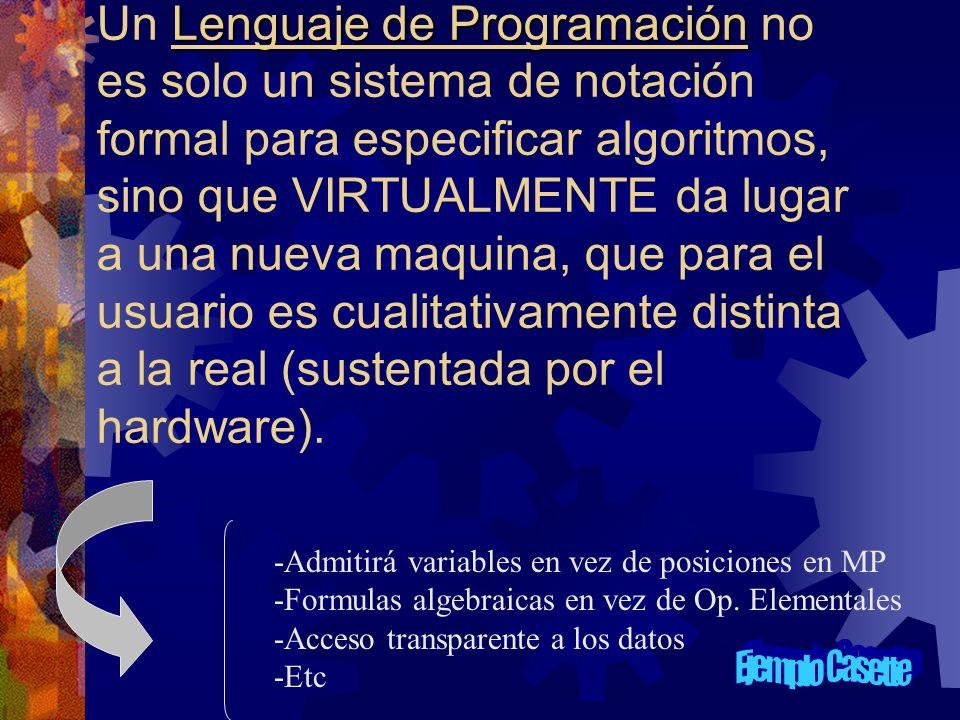 Lenguaje de Programación Un Lenguaje de Programación no es solo un sistema de notación formal para especificar algoritmos, sino que VIRTUALMENTE da lu