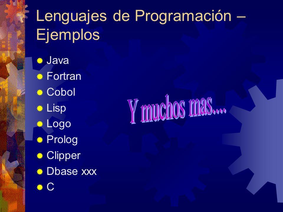 Lenguajes de Programación – Ejemplos Java Fortran Cobol Lisp Logo Prolog Clipper Dbase xxx C