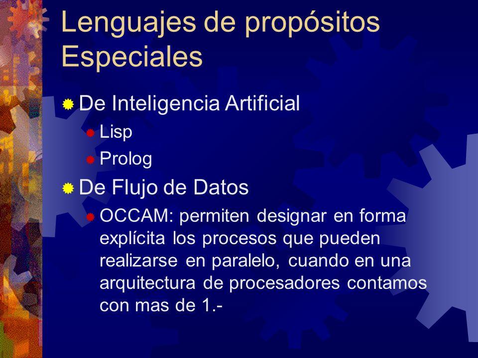 Lenguajes de propósitos Especiales De Inteligencia Artificial Lisp Prolog De Flujo de Datos OCCAM: permiten designar en forma explícita los procesos q