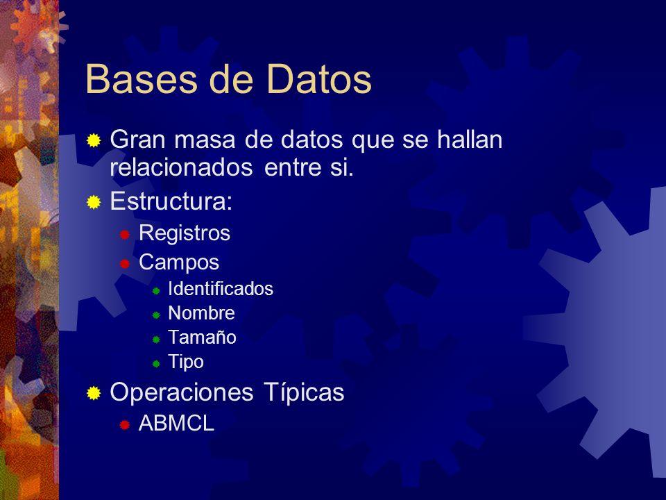 Bases de Datos Gran masa de datos que se hallan relacionados entre si. Estructura: Registros Campos Identificados Nombre Tamaño Tipo Operaciones Típic