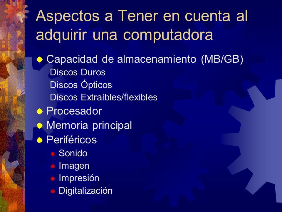 Aspectos a Tener en cuenta al adquirir una computadora Capacidad de almacenamiento (MB/GB) Discos Duros Discos Ópticos Discos Extraíbles/flexibles Pro