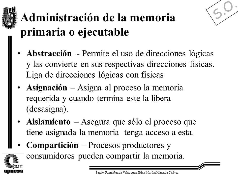 S.O. Sergio Fuenlabrada Velázquez, Edna Martha Miranda Chávez Administración de la memoria primaria o ejecutable Abstracción - Permite el uso de direc