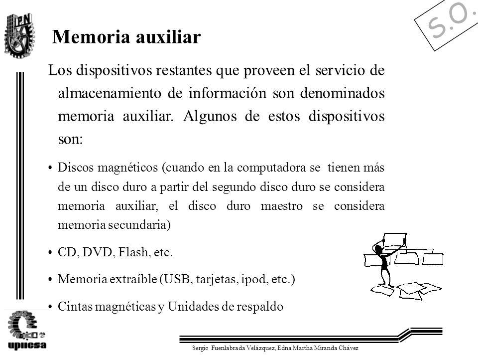 S.O. Sergio Fuenlabrada Velázquez, Edna Martha Miranda Chávez Memoria auxiliar Los dispositivos restantes que proveen el servicio de almacenamiento de