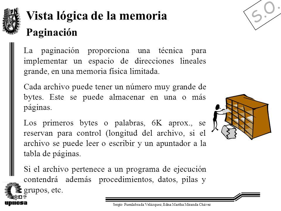S.O. Sergio Fuenlabrada Velázquez, Edna Martha Miranda Chávez Vista lógica de la memoria Paginación La paginación proporciona una técnica para impleme