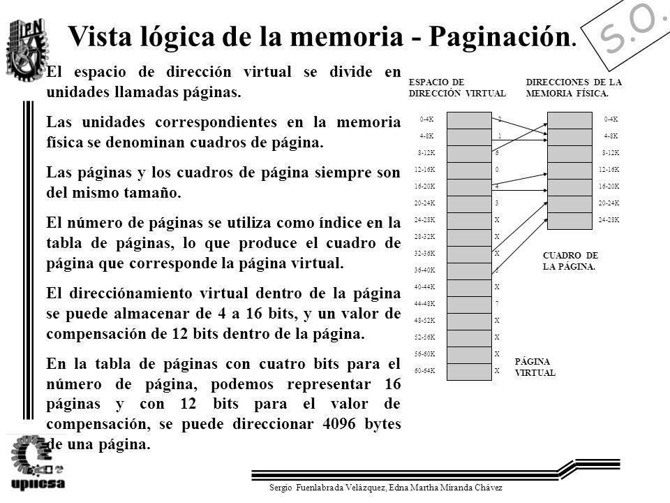 S.O. Sergio Fuenlabrada Velázquez, Edna Martha Miranda Chávez Vista lógica de la memoria - Paginación. El espacio de dirección virtual se divide en un