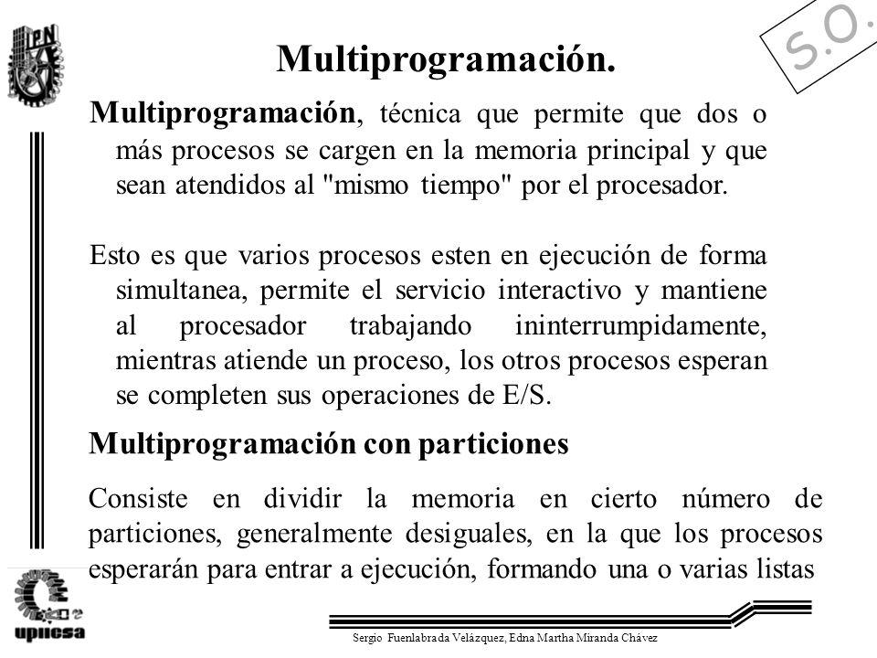 S.O. Sergio Fuenlabrada Velázquez, Edna Martha Miranda Chávez Multiprogramación. Multiprogramación, técnica que permite que dos o más procesos se carg