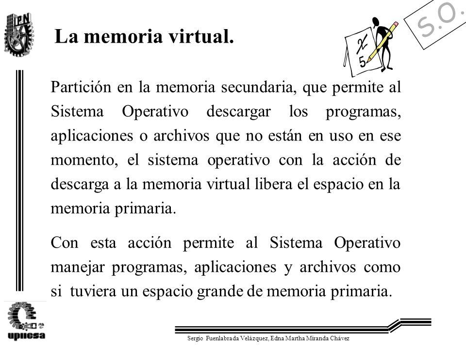 S.O. Sergio Fuenlabrada Velázquez, Edna Martha Miranda Chávez La memoria virtual. Partición en la memoria secundaria, que permite al Sistema Operativo