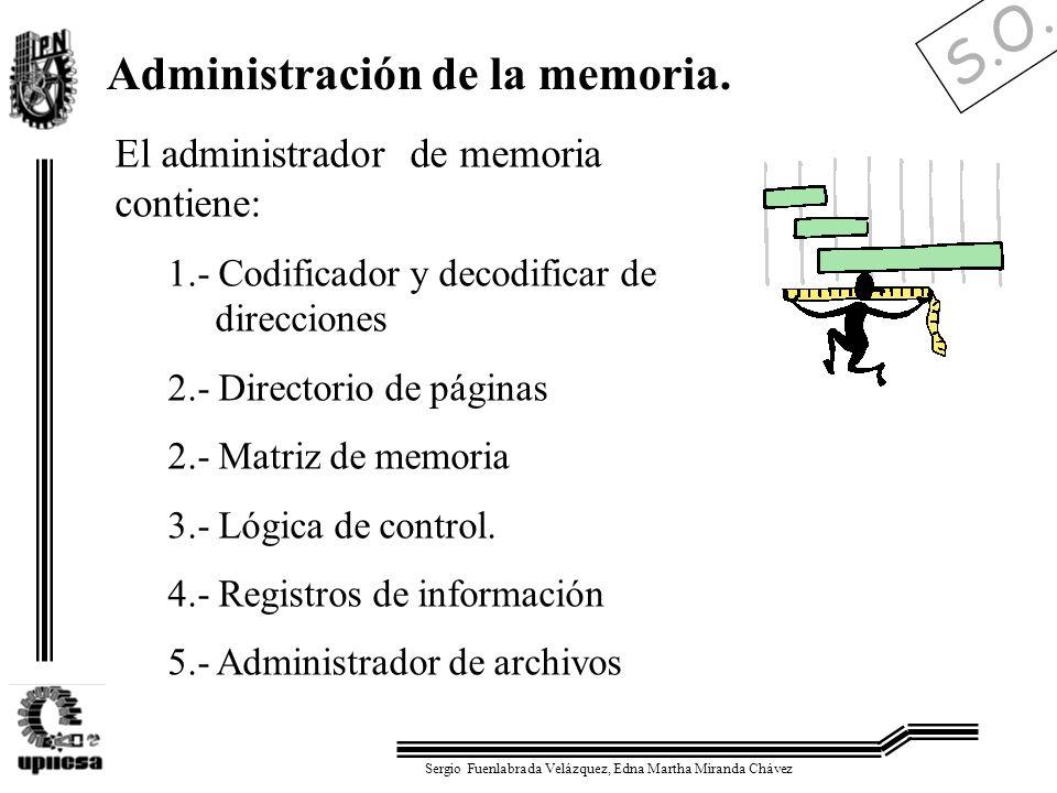 S.O. Sergio Fuenlabrada Velázquez, Edna Martha Miranda Chávez Administración de la memoria. El administrador de memoria contiene: 1.- Codificador y de