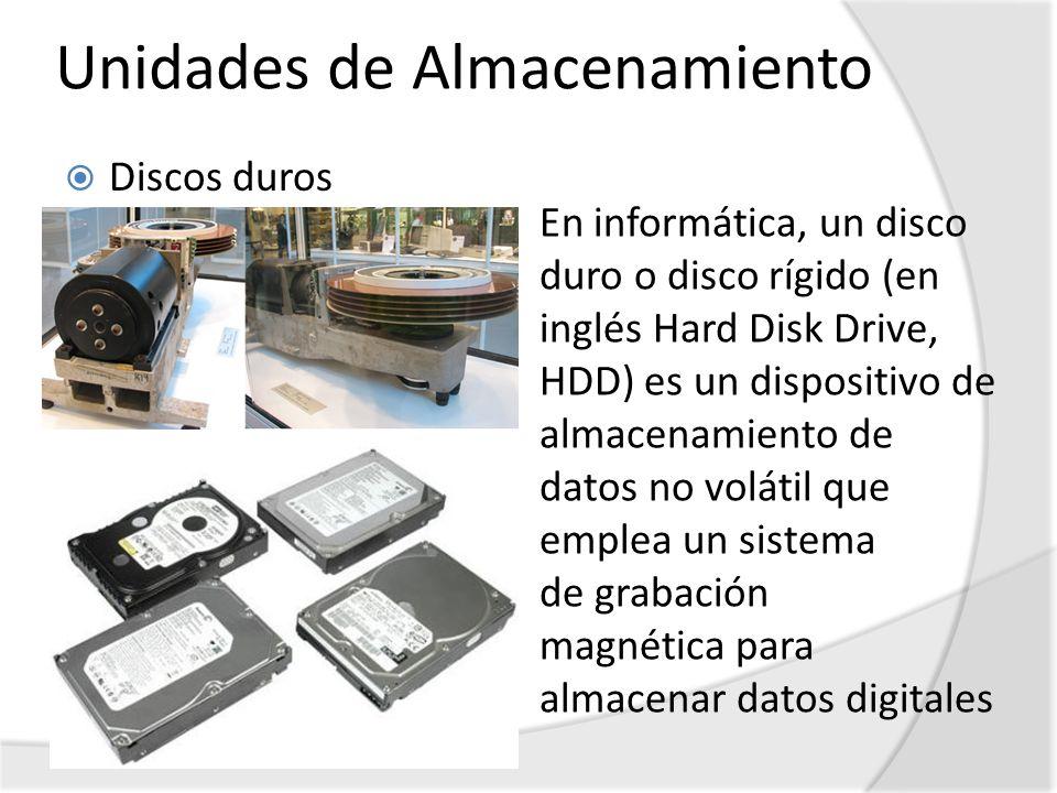 Unidades de Almacenamiento Discos duros En informática, un disco duro o disco rígido (en inglés Hard Disk Drive, HDD) es un dispositivo de almacenamie