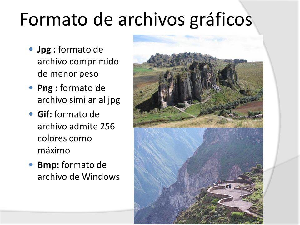 Formato de archivos gráficos Jpg : formato de archivo comprimido de menor peso Png : formato de archivo similar al jpg Gif: formato de archivo admite
