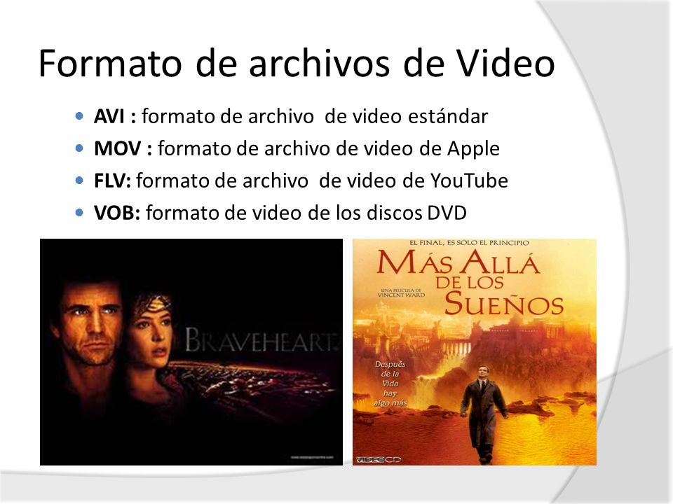 Formato de archivos de Video AVI : formato de archivo de video estándar MOV : formato de archivo de video de Apple FLV: formato de archivo de video de