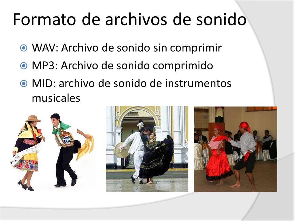 Formato de archivos de sonido WAV: Archivo de sonido sin comprimir MP3: Archivo de sonido comprimido MID: archivo de sonido de instrumentos musicales
