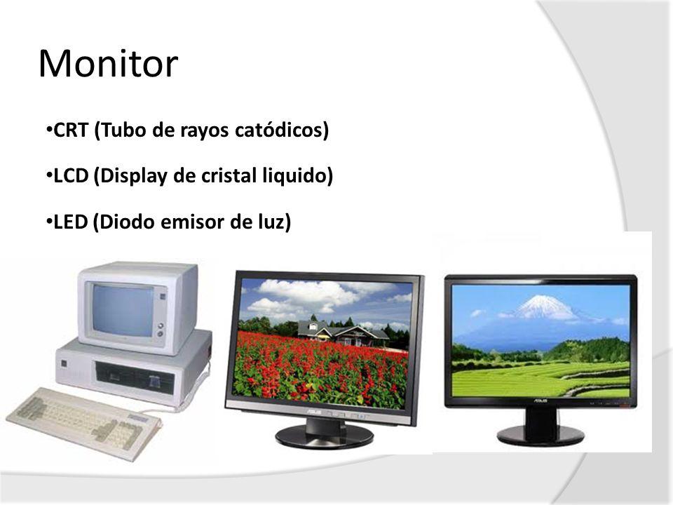 Monitor CRT (Tubo de rayos catódicos) LCD (Display de cristal liquido) LED (Diodo emisor de luz)