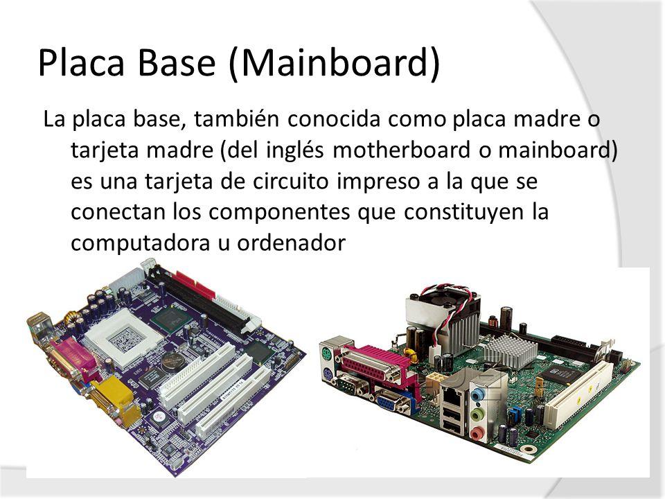 Placa Base (Mainboard) La placa base, también conocida como placa madre o tarjeta madre (del inglés motherboard o mainboard) es una tarjeta de circuit