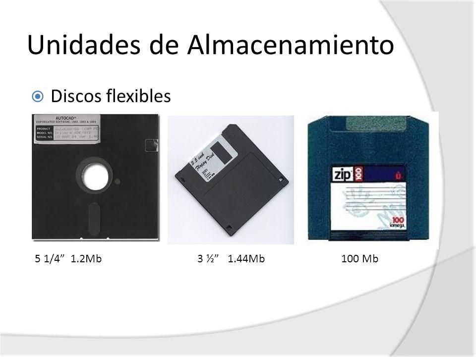Unidades de Almacenamiento Discos flexibles 5 1/4 1.2Mb 3 ½ 1.44Mb 100 Mb