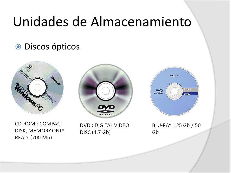 Unidades de Almacenamiento Discos ópticos CD-ROM : COMPAC DISK, MEMORY ONLY READ (700 Mb) DVD : DIGITAL VIDEO DISC (4.7 Gb) BLU-RAY : 25 Gb / 50 Gb