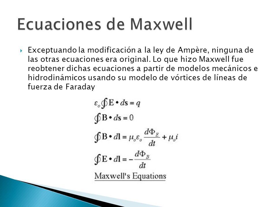 Exceptuando la modificación a la ley de Ampère, ninguna de las otras ecuaciones era original.