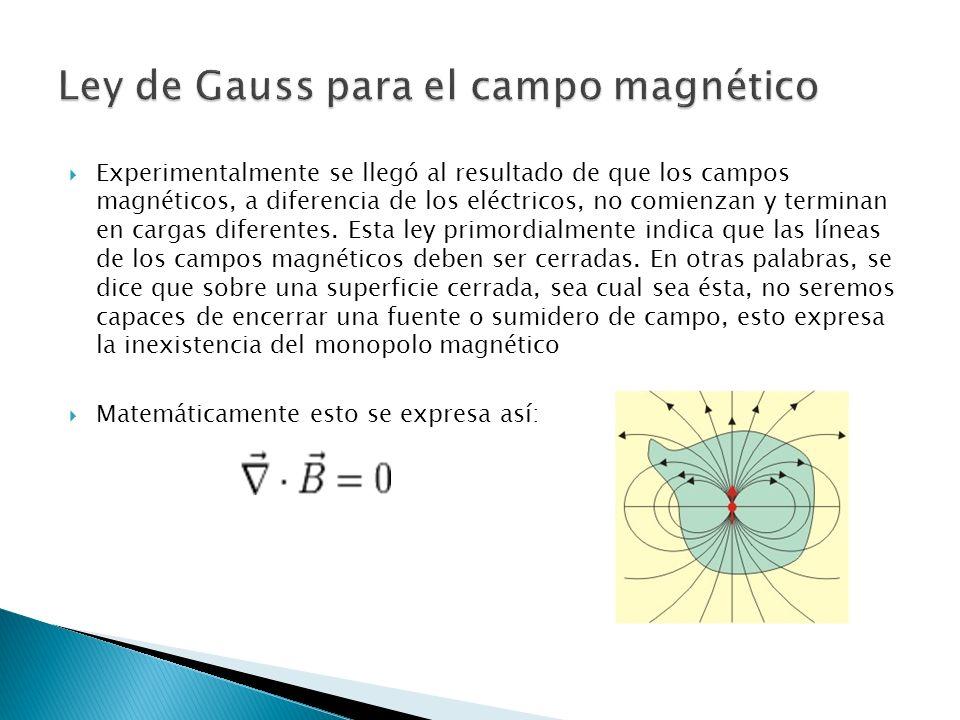 Experimentalmente se llegó al resultado de que los campos magnéticos, a diferencia de los eléctricos, no comienzan y terminan en cargas diferentes.