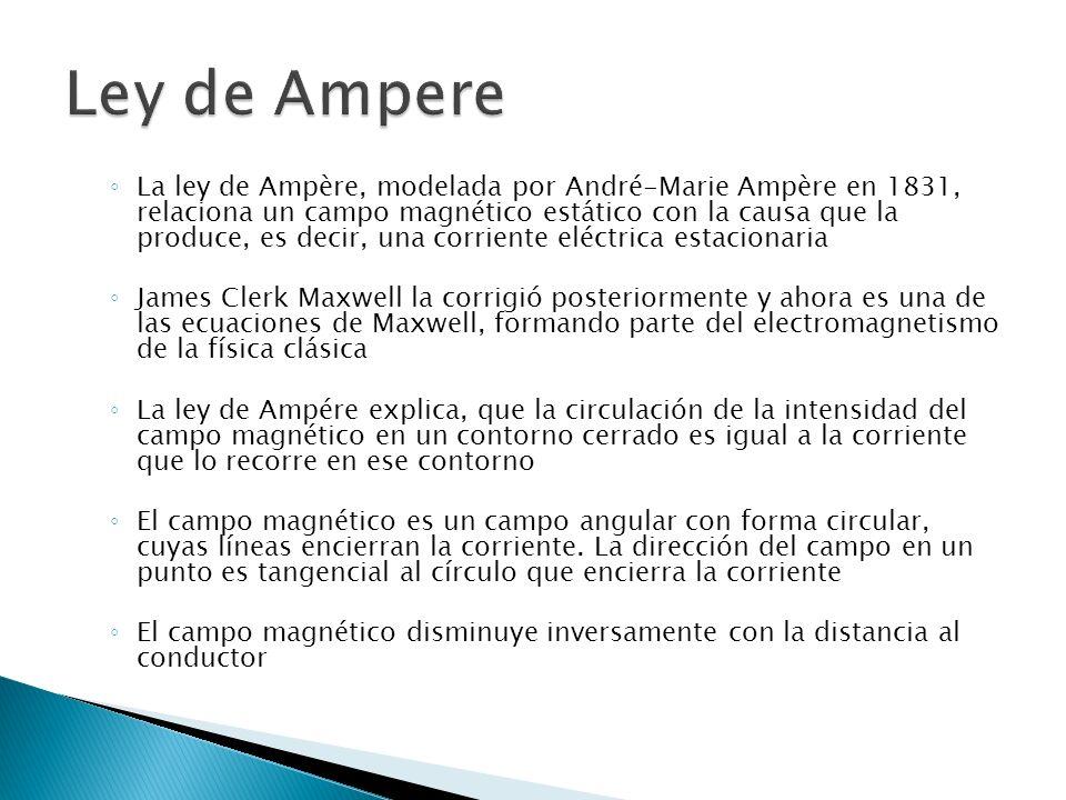 La ley de Ampère, modelada por André-Marie Ampère en 1831, relaciona un campo magnético estático con la causa que la produce, es decir, una corriente eléctrica estacionaria James Clerk Maxwell la corrigió posteriormente y ahora es una de las ecuaciones de Maxwell, formando parte del electromagnetismo de la física clásica La ley de Ampére explica, que la circulación de la intensidad del campo magnético en un contorno cerrado es igual a la corriente que lo recorre en ese contorno El campo magnético es un campo angular con forma circular, cuyas líneas encierran la corriente.