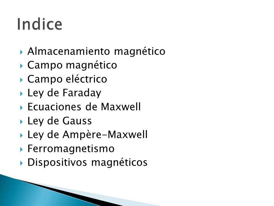 Almacenamiento magnético Campo magnético Campo eléctrico Ley de Faraday Ecuaciones de Maxwell Ley de Gauss Ley de Ampère-Maxwell Ferromagnetismo Dispositivos magnéticos