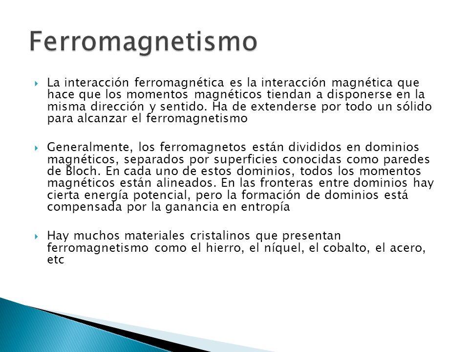La interacción ferromagnética es la interacción magnética que hace que los momentos magnéticos tiendan a disponerse en la misma dirección y sentido.