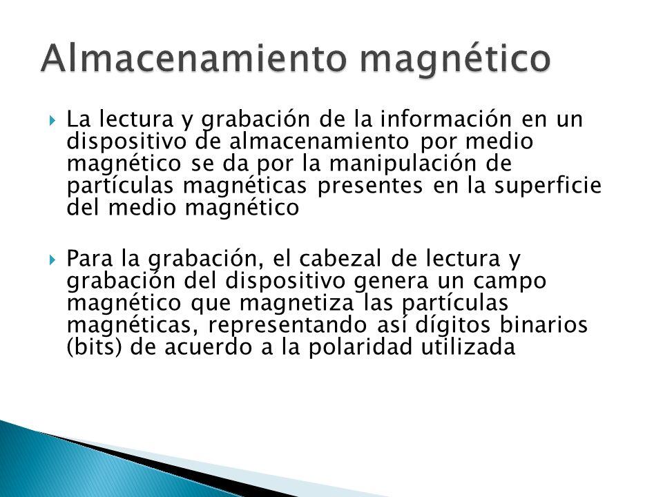 La lectura y grabación de la información en un dispositivo de almacenamiento por medio magnético se da por la manipulación de partículas magnéticas presentes en la superficie del medio magnético Para la grabación, el cabezal de lectura y grabación del dispositivo genera un campo magnético que magnetiza las partículas magnéticas, representando así dígitos binarios (bits) de acuerdo a la polaridad utilizada