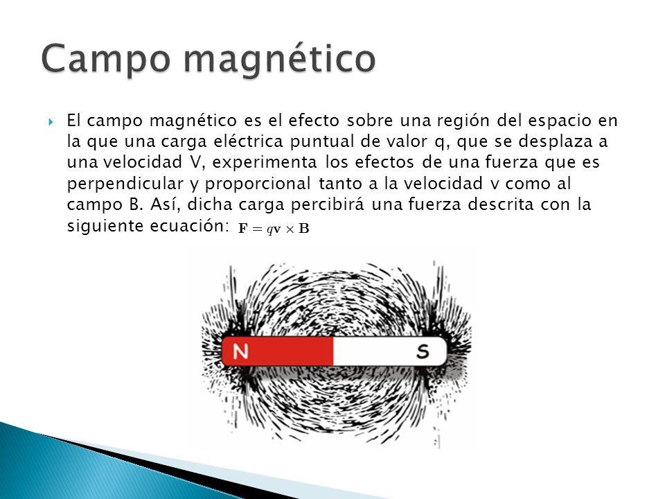 El campo magnético es el efecto sobre una región del espacio en la que una carga eléctrica puntual de valor q, que se desplaza a una velocidad V, experimenta los efectos de una fuerza que es perpendicular y proporcional tanto a la velocidad v como al campo B.
