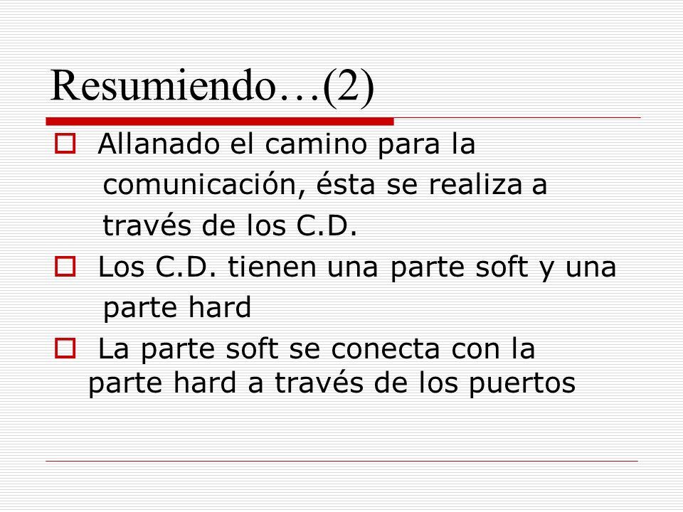 Resumiendo…(2) Allanado el camino para la comunicación, ésta se realiza a través de los C.D.
