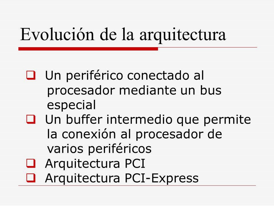 Evolución de la arquitectura Un periférico conectado al procesador mediante un bus especial Un buffer intermedio que permite la conexión al procesador de varios periféricos Arquitectura PCI Arquitectura PCI-Express