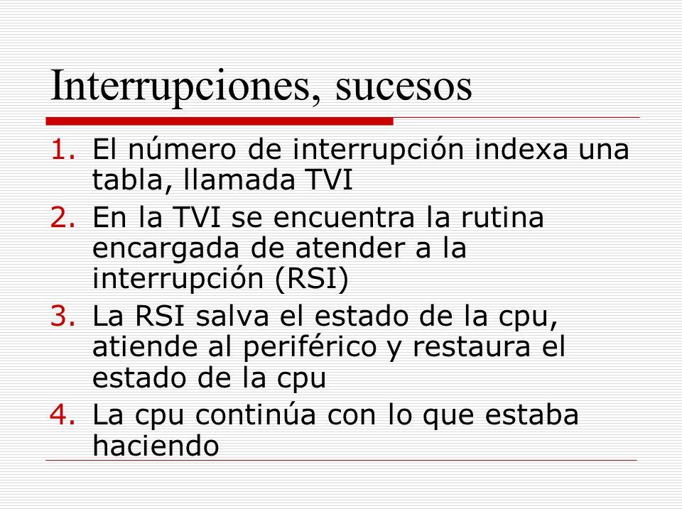 Interrupciones, sucesos 1.El número de interrupción indexa una tabla, llamada TVI 2.En la TVI se encuentra la rutina encargada de atender a la interrupción (RSI) 3.La RSI salva el estado de la cpu, atiende al periférico y restaura el estado de la cpu 4.La cpu continúa con lo que estaba haciendo