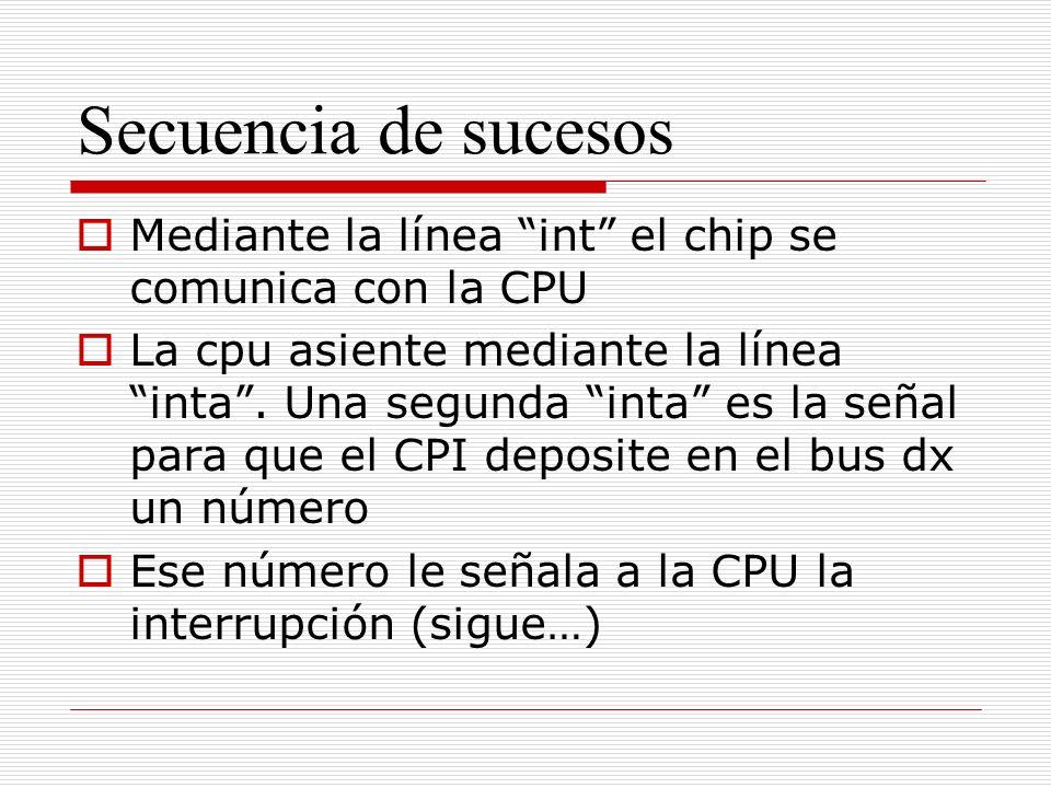 Secuencia de sucesos Mediante la línea int el chip se comunica con la CPU La cpu asiente mediante la línea inta.