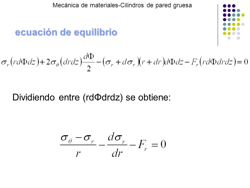 ecuación de equilibrio Mecánica de materiales-Cilindros de pared gruesa Dividiendo entre (rdΦdrdz) se obtiene:
