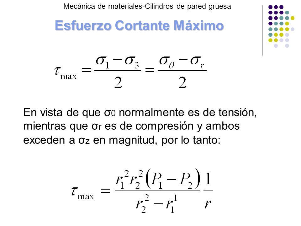 Esfuerzo Cortante Máximo En vista de que σ θ normalmente es de tensión, mientras que σ r es de compresión y ambos exceden a σ z en magnitud, por lo tanto: Mecánica de materiales-Cilindros de pared gruesa