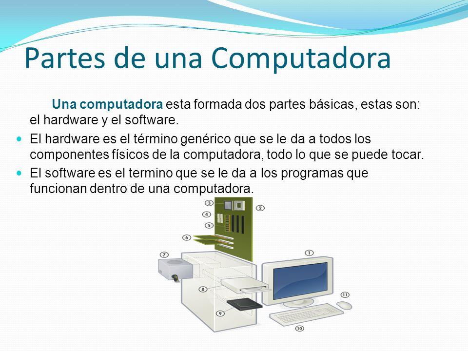 Partes de una Computadora Una computadora esta formada dos partes básicas, estas son: el hardware y el software.