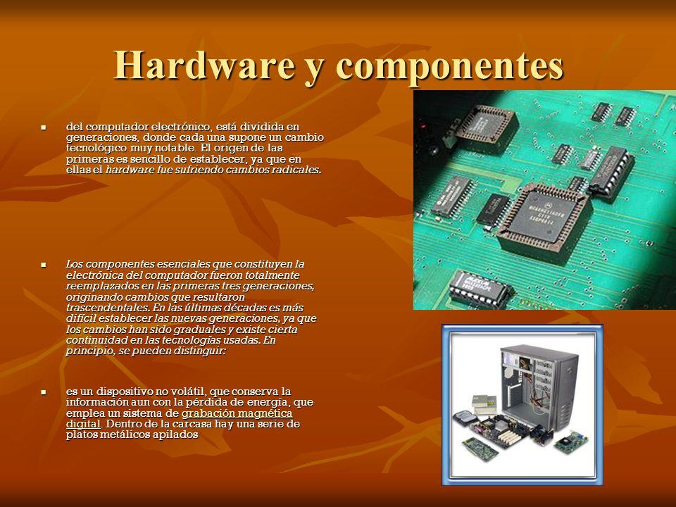 Hardware y componentes del computador electrónico, está dividida en generaciones, donde cada una supone un cambio tecnológico muy notable.