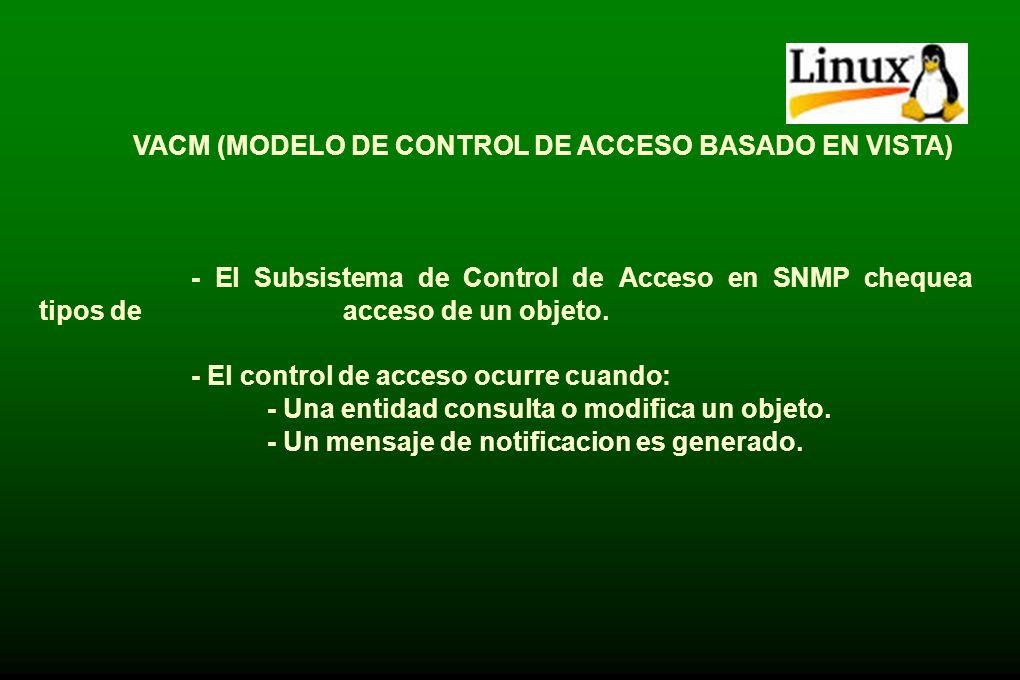 ARCHIVO DE CONFIGURACION - Snmpd.conf - /etc/snmp/snmpd.conf - Permite configurar -Control de acceso a los procesos -Traps -Directorio donde se encuen
