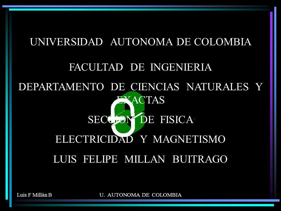 Luis F Millán BU. AUTONOMA DE COLOMBIA UNIVERSIDAD AUTONOMA DE COLOMBIA FACULTAD DE INGENIERIA DEPARTAMENTO DE CIENCIAS NATURALES Y EXACTAS SECCION DE