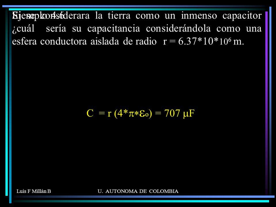 Luis F Millán BU. AUTONOMA DE COLOMBIA Si se considerara la tierra como un inmenso capacitor ¿cuál sería su capacitancia considerándola como una esfer