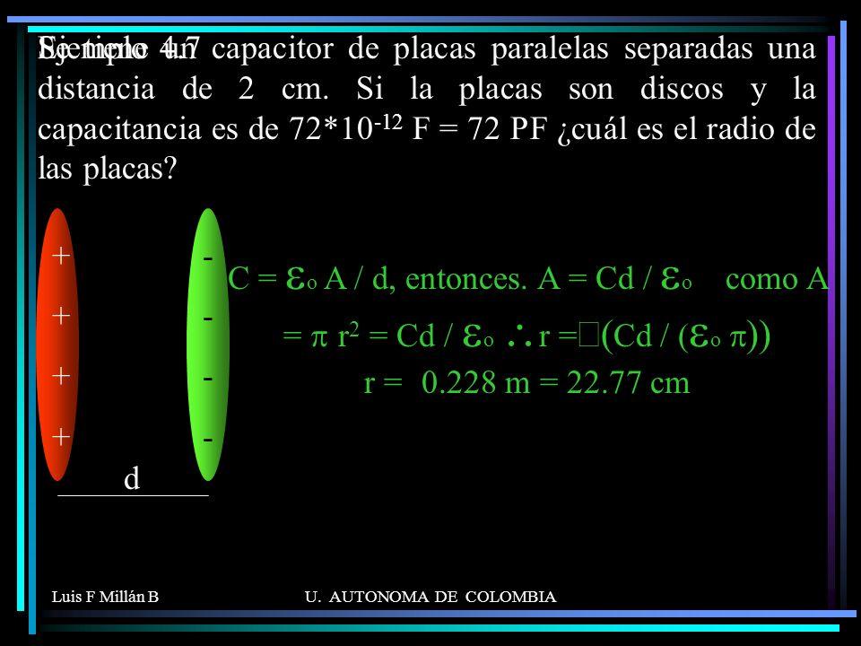 Luis F Millán BU. AUTONOMA DE COLOMBIA Se tiene un capacitor de placas paralelas separadas una distancia de 2 cm. Si la placas son discos y la capacit