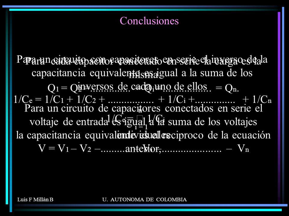 Luis F Millán BU. AUTONOMA DE COLOMBIA Para cada capacitor conectado en serie la carga es la misma Q 1 = Q 2 =............... = Q i =.................