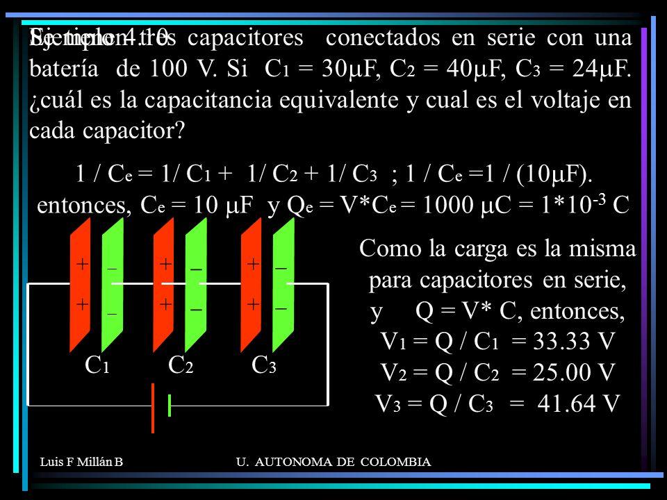 Luis F Millán BU. AUTONOMA DE COLOMBIA Se tienen tres capacitores conectados en serie con una batería de 100 V. Si C 1 = 30 F, C 2 = 40 F, C 3 = 24 F.