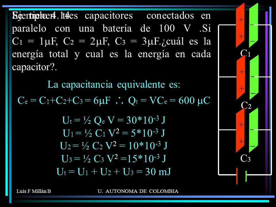 Luis F Millán BU. AUTONOMA DE COLOMBIA Se tienen tres capacitores conectados en paralelo con una batería de 100 V.Si C 1 = 1 F, C 2 = 2 F, C 3 = 3 F.¿