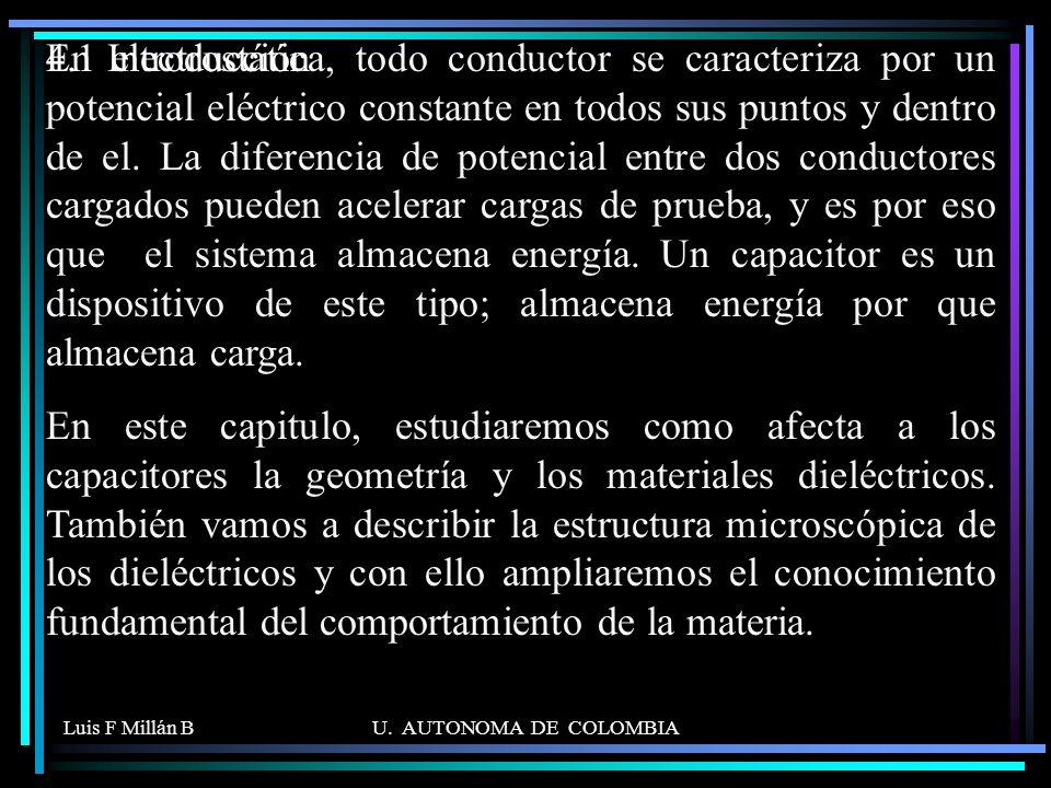 Luis F Millán BU. AUTONOMA DE COLOMBIA En electrostática, todo conductor se caracteriza por un potencial eléctrico constante en todos sus puntos y den