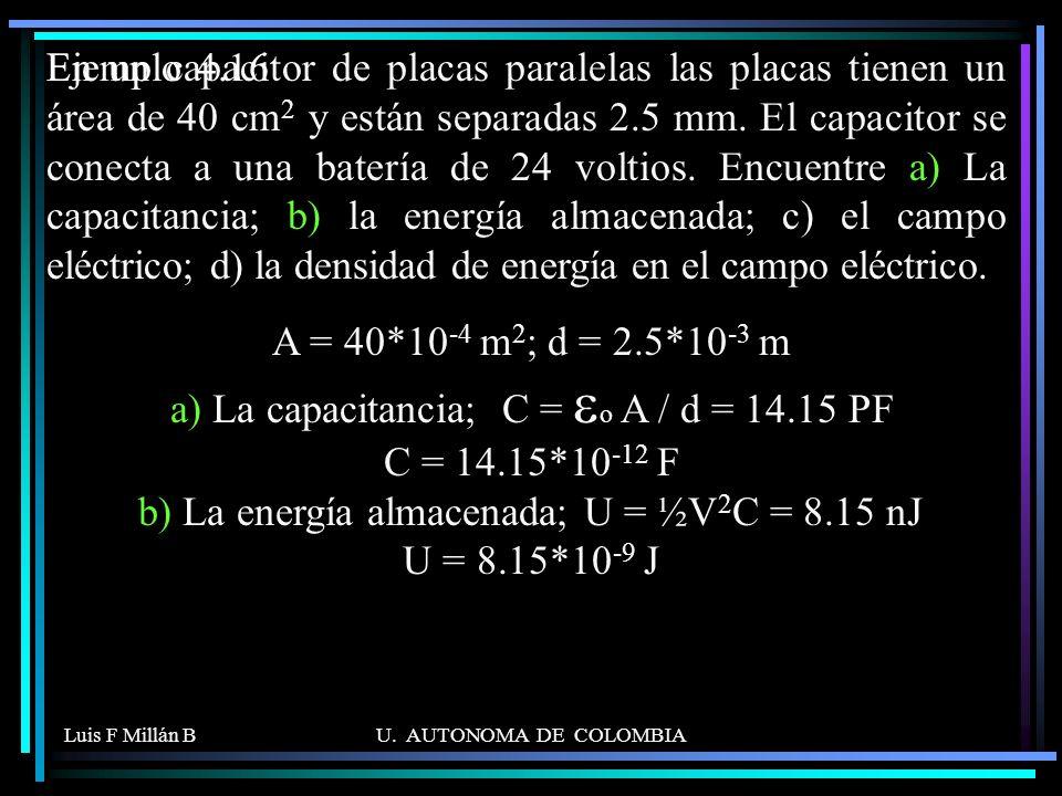 Luis F Millán BU. AUTONOMA DE COLOMBIA En un capacitor de placas paralelas las placas tienen un área de 40 cm 2 y están separadas 2.5 mm. El capacitor