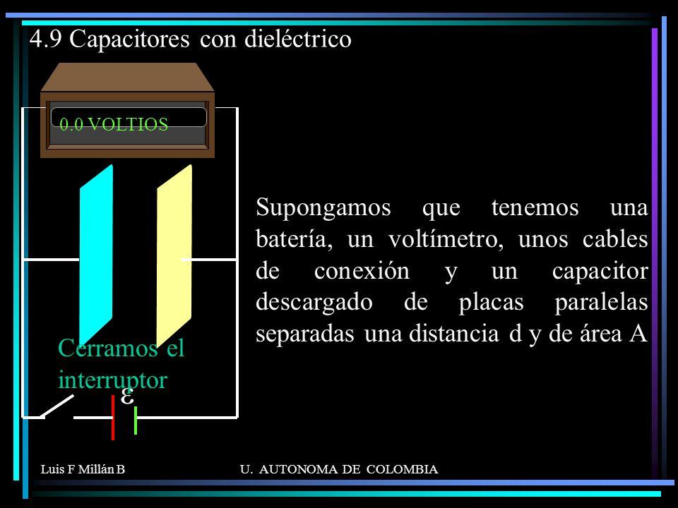 Luis F Millán BU. AUTONOMA DE COLOMBIA 0.0 VOLTIOS 4.9 Capacitores con dieléctrico Supongamos que tenemos una batería, un voltímetro, unos cables de c