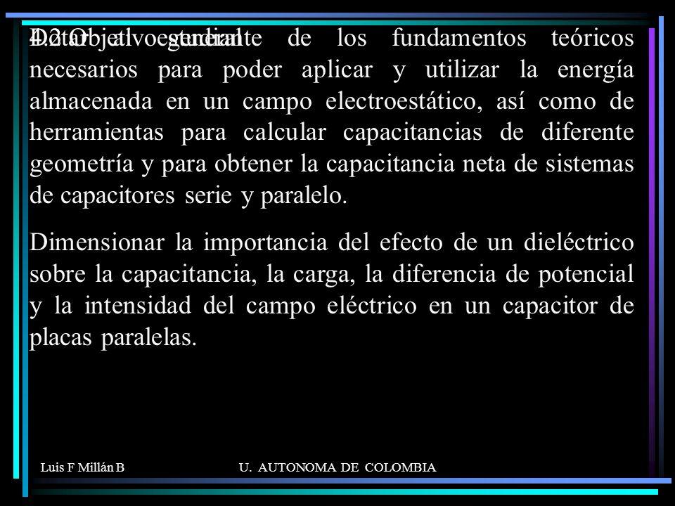 Luis F Millán BU. AUTONOMA DE COLOMBIA 4.2 Objetivo general Dotar al estudiante de los fundamentos teóricos necesarios para poder aplicar y utilizar l